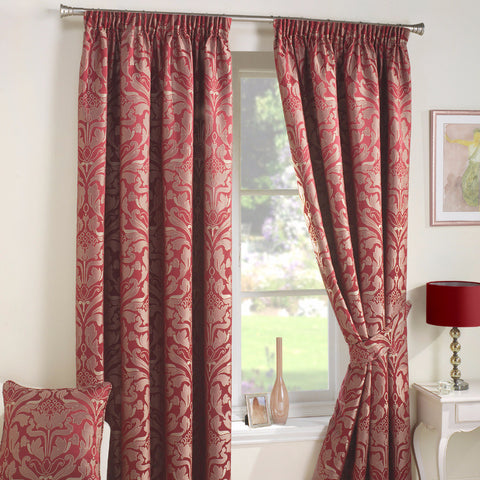 Cromwell Red Jacquard Damask Lined Pencil Pleat Curtains