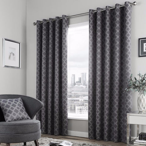 Bleasdale Charcoal Eyelet Lined Curtains