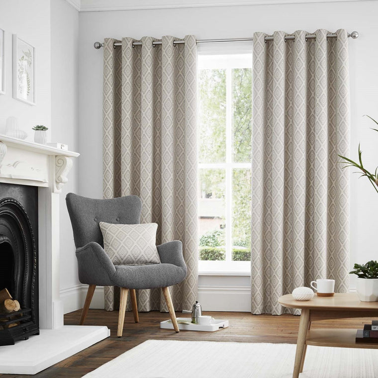 Diamond Graphite Lined Eyelet Curtains