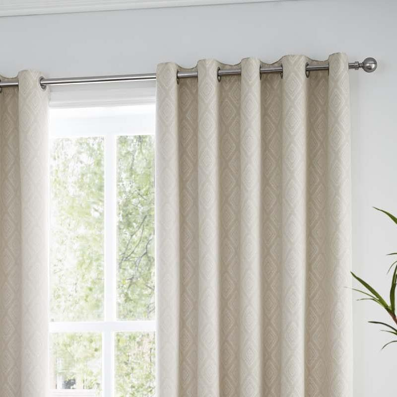 Diamond Natural Lined Eyelet Curtains