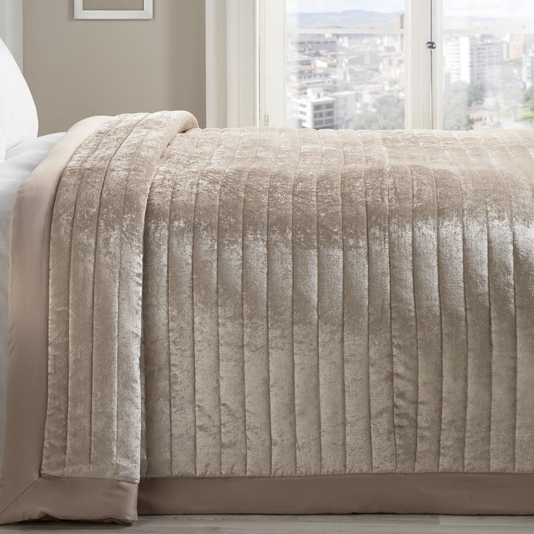 Dubai Chic Champagne Velvet Quilted Bedspread