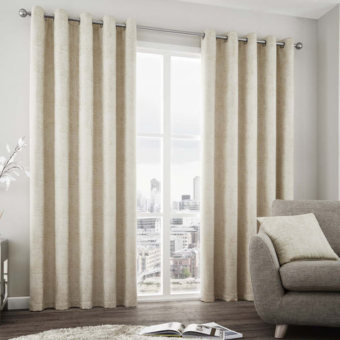 Dubai Chic Glitz Natural Lined Eyelet Curtains