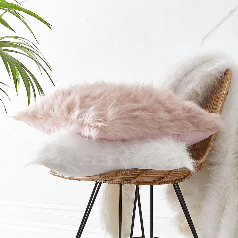 Metallic Fur Throw - Blush Pink