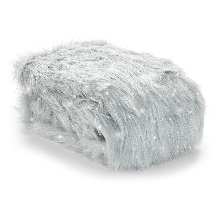 Metallic Fur Throw - Silver Grey