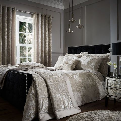 Dubai Chic Natural Crushed Velvet Duvet Cover
