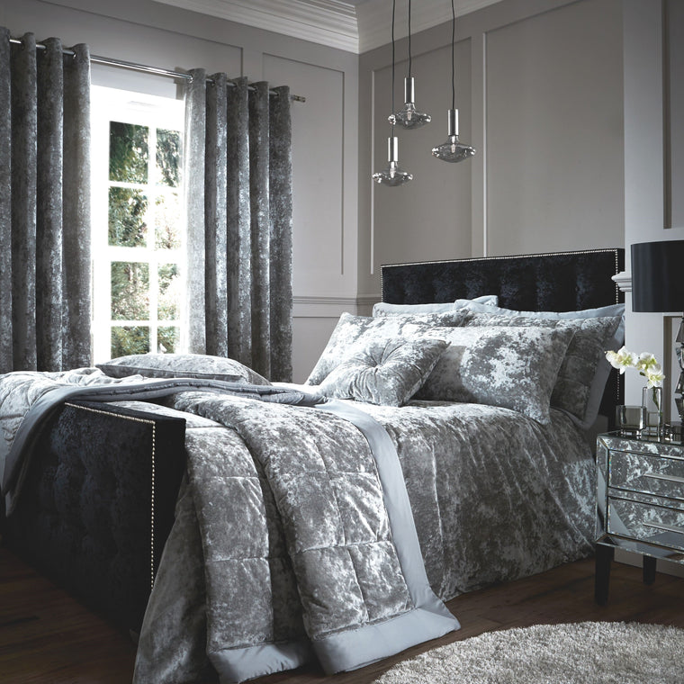 Silver Crushed Velvet Duvet Cover