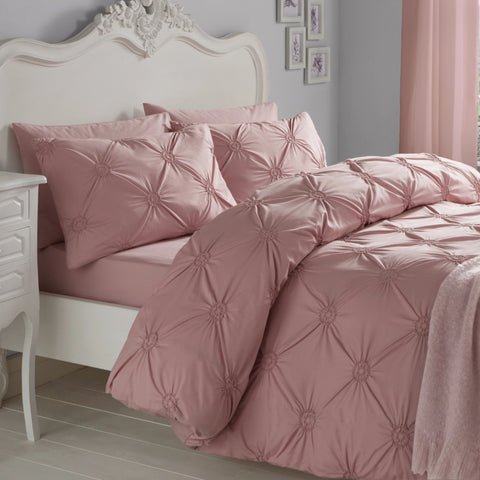 Elissa Blush 100% Cotton Ruched Rosette Duvet Cover Set