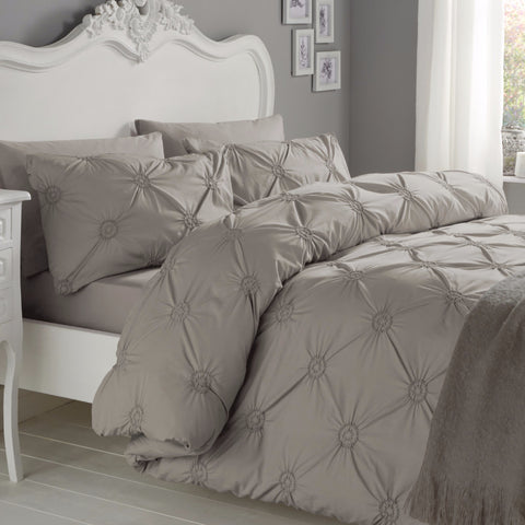 Elissa Silver 100% Cotton Ruched Rosette Duvet Cover Set
