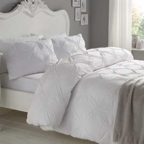 Elissa White 100% Cotton Ruched Rosette Duvet Cover Set