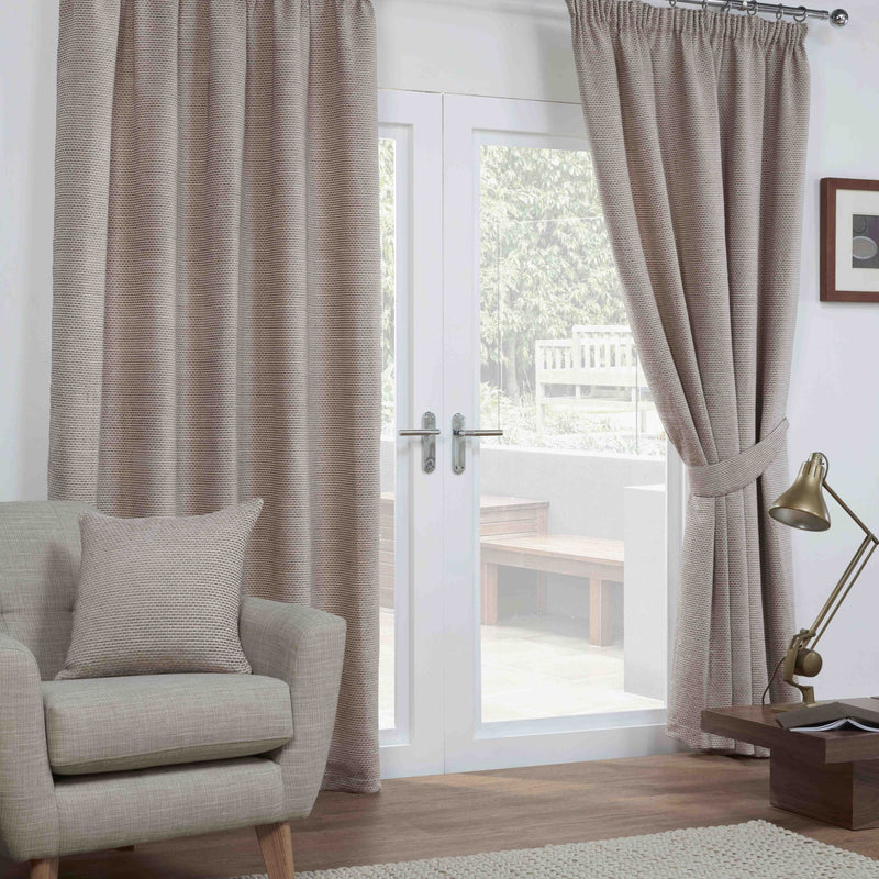 Georgia Basket Weave Lined Pencil Pleat Curtains in Mocha