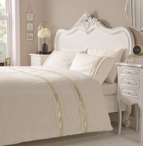 Glamour Cream with Gold Sequin Stripe Duvet Cover Set