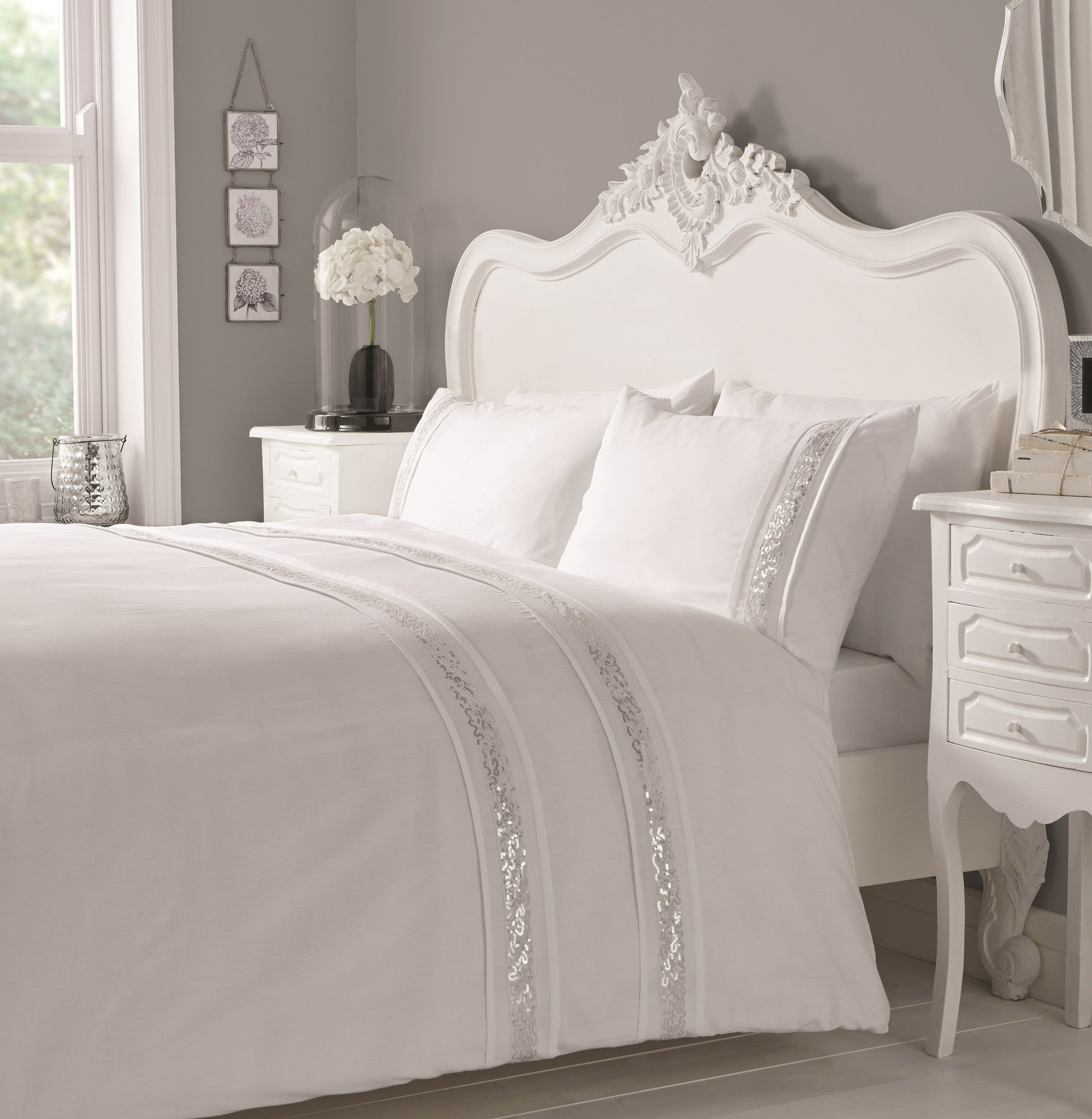 Glamour White with Silver Sequin Stripe Duvet Cover