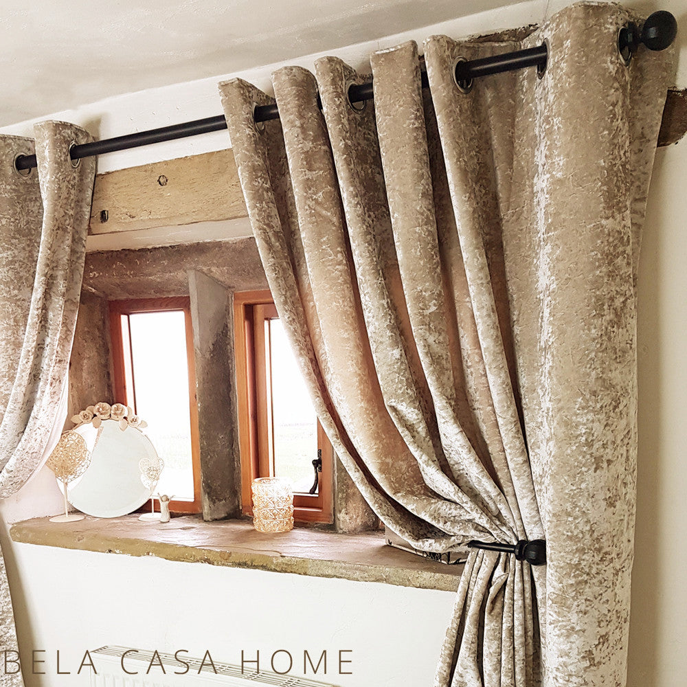 Crushed Velvet Eyelet Top Fully Lined Ready Made Curtains Silk Gold Bela Casa Home