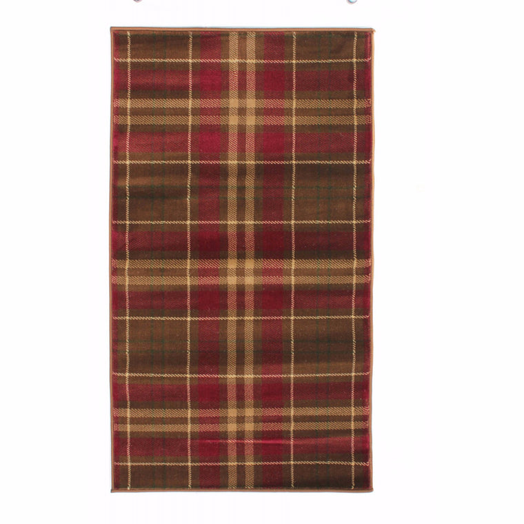 Grampian Red and Tan Checked Rug