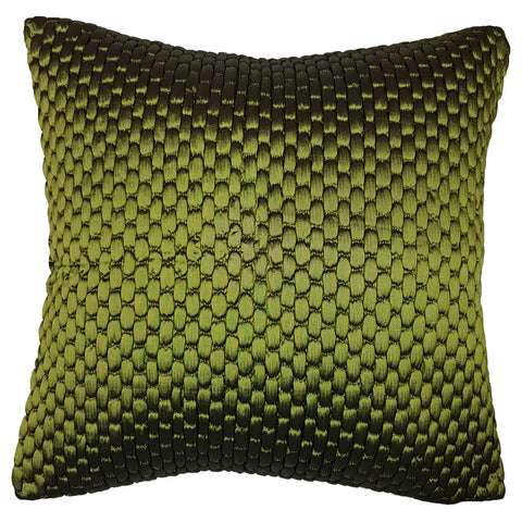 One Of A Kind Green Textured Satin 43x43cm Cushion