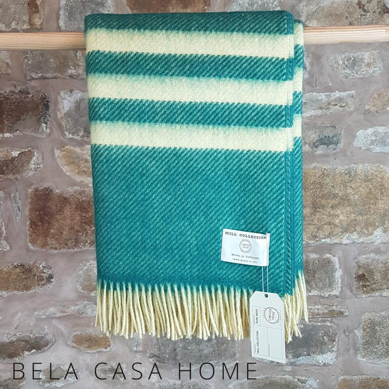 Green and Yellow Stripe Pure New Wool Throw
