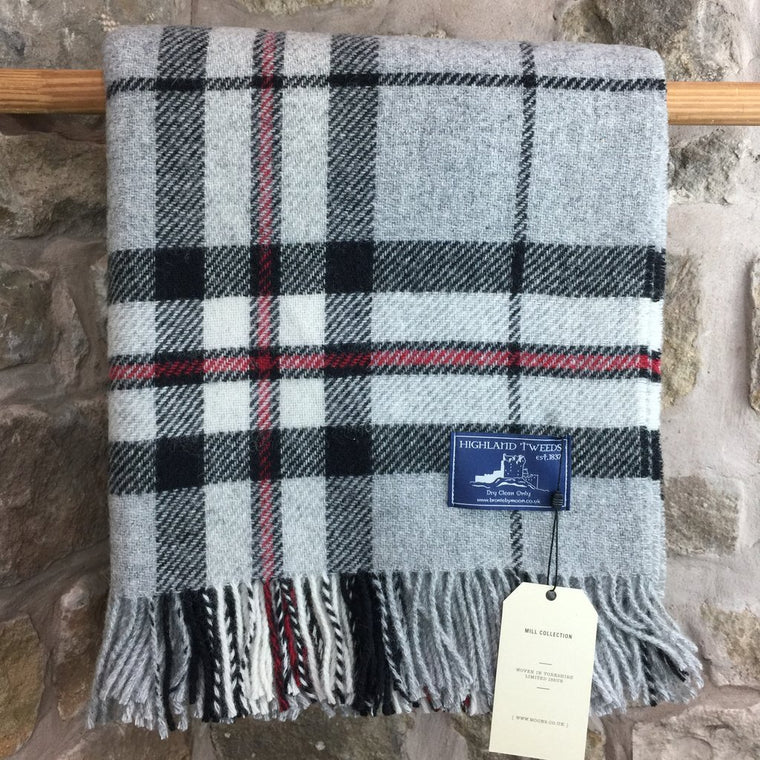 Grey, black and Red Check Lambs Wool Throw