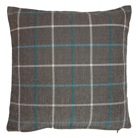One Of A Kind Herringbone Blue Check 43x43cm Cushion