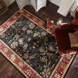 Imperial Black and Rust Zubar Rug