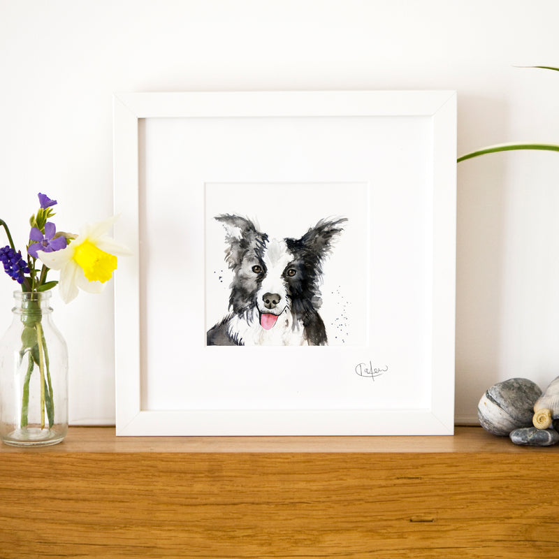 Inky Dog Framed Print in White
