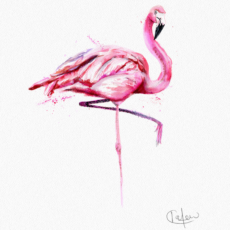 Inky Flamingo Framed Print in White