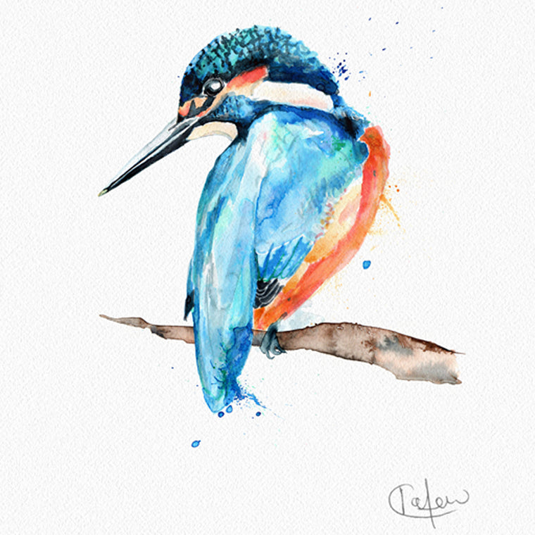 Inky Kingfisher Framed Print in White
