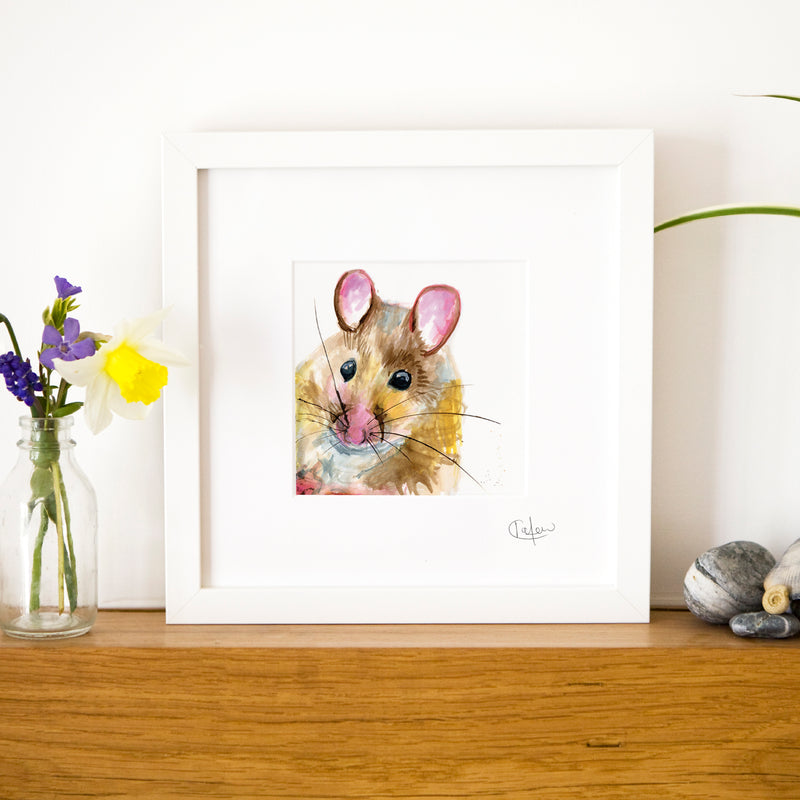 Inky Mouse Framed Print in White