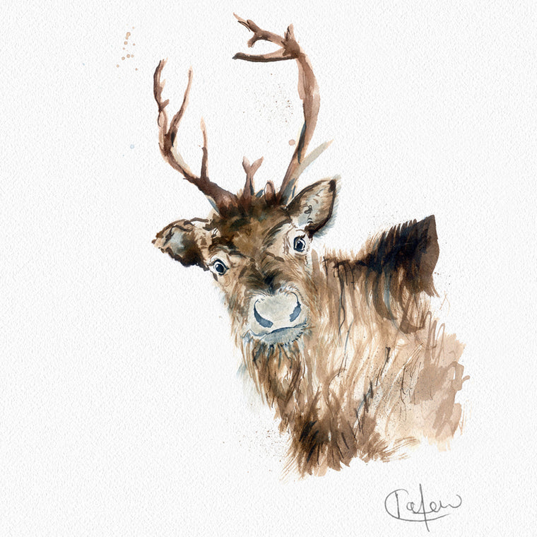 Inky Reindeer Framed Print in White