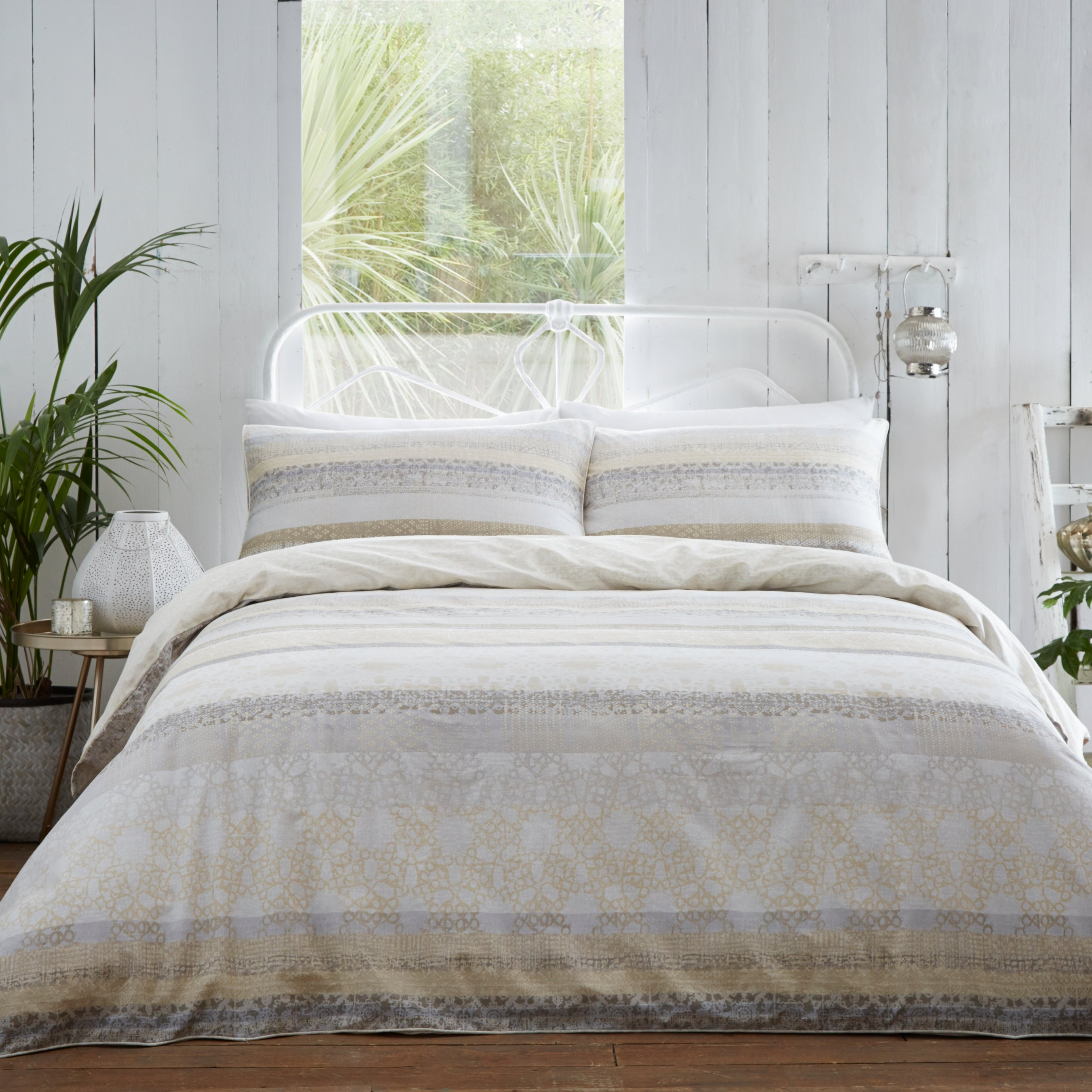 Lamina Natural Cotton Duvet Cover Set
