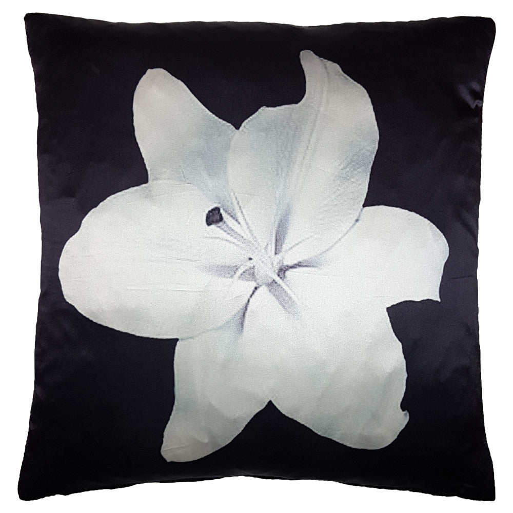 One Of A Kind Black Satin Lily 40x40cm Cushion
