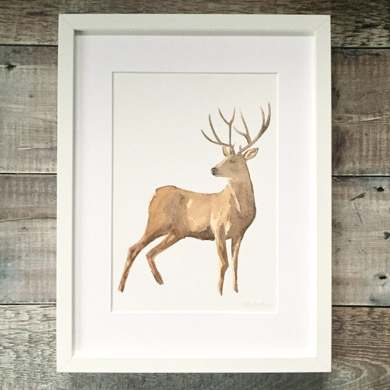 Stag Looking Back Watercolour Print