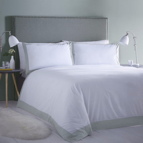 Madison White with Duck Egg Border Duvet & Pillowcase set