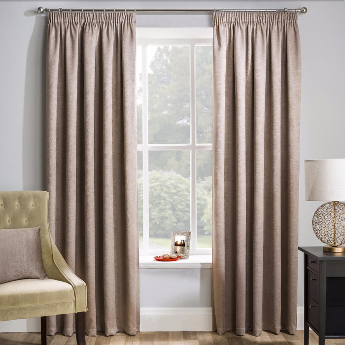 Matrix Latte Pencil Pleat Woven Textured Ready-Made Curtains