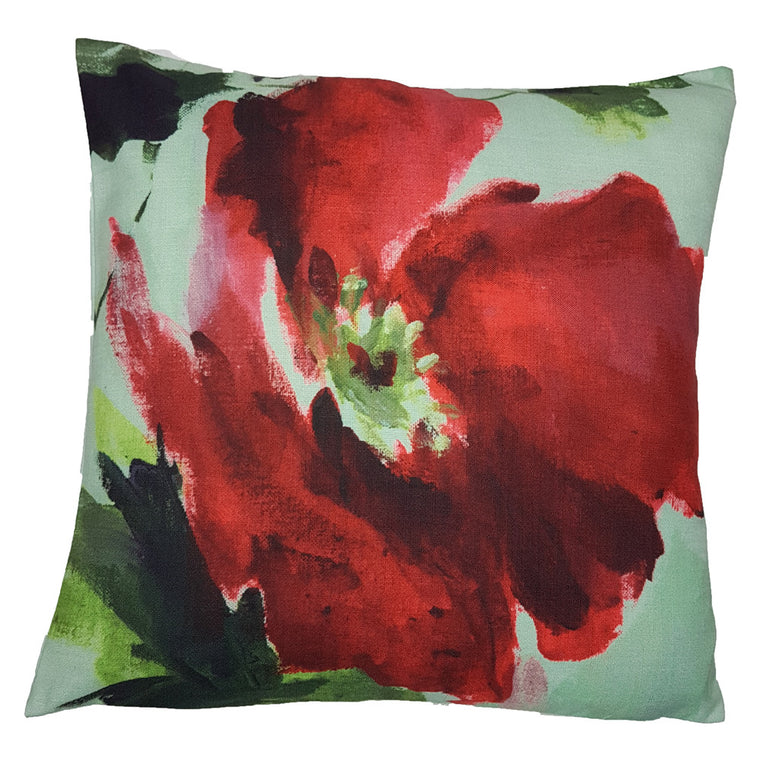 One Of A Kind Mint Painted Poppy 43x43cm Cushion