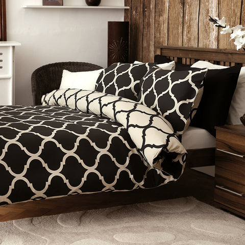 Morocco Black Reversible Duvet & Pillowcase Set