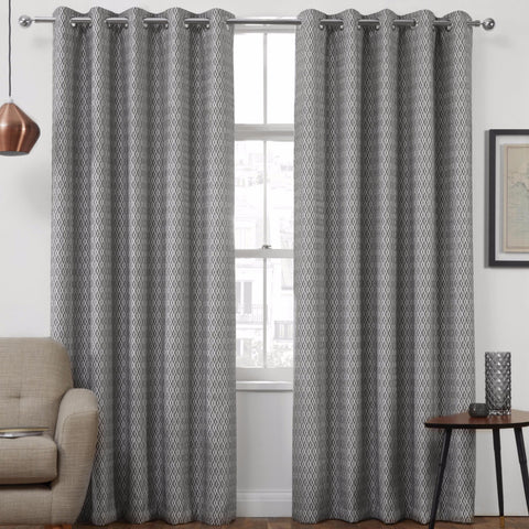 Pheonix Jacquard Diamond Charcoal Ready-Made Eyelet Curtains
