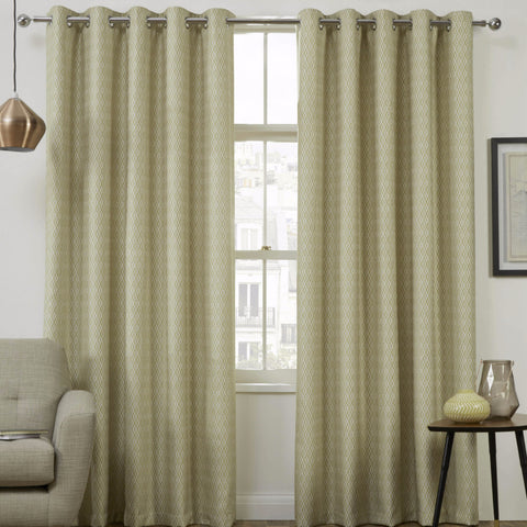 Pheonix Jacquard Diamond Citrus Ready-Made Eyelet Curtains