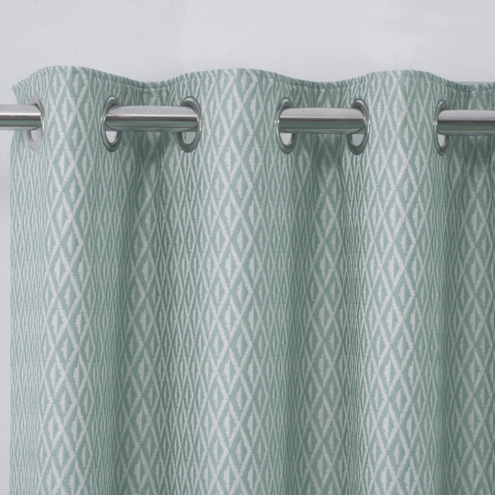 Pheonix Jacquard Diamond Duck Egg Ready-Made Eyelet Curtains