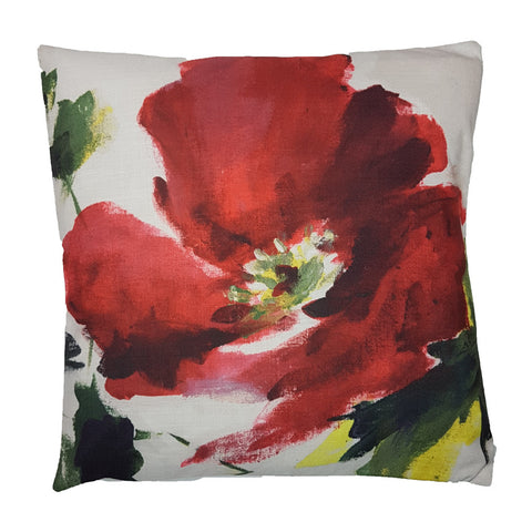 One Of A Kind Painted Poppy 43x43cm Cushion