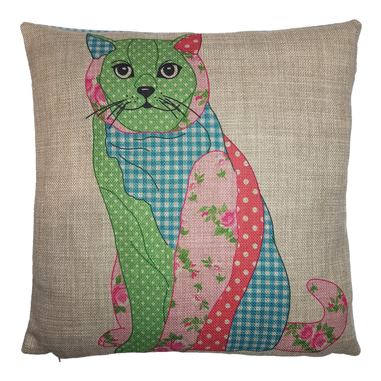 One Of A Kind Patchwork Kitty 43x43cm Cushion