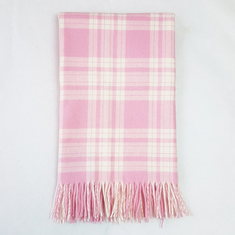 Bela Baby Pink Check Lambs Wool Blanket and Cushion