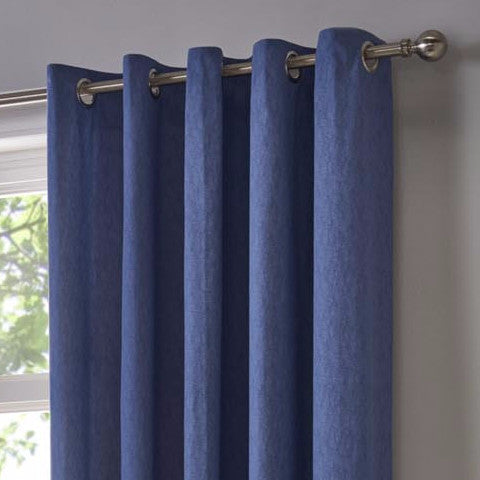 Boston Plain Blue Eyelet Curtains