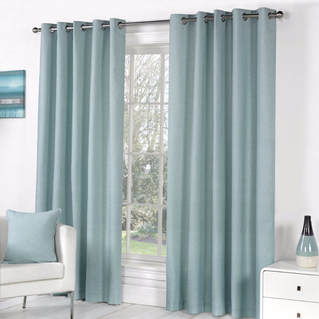 Boston Plain Duck Egg Eyelet Curtains