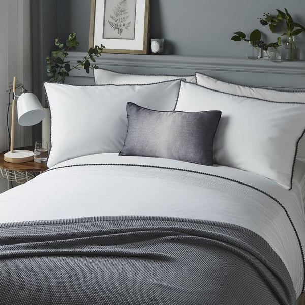 Pom Pom Grey Duvet Cover and Pillowcase Set.