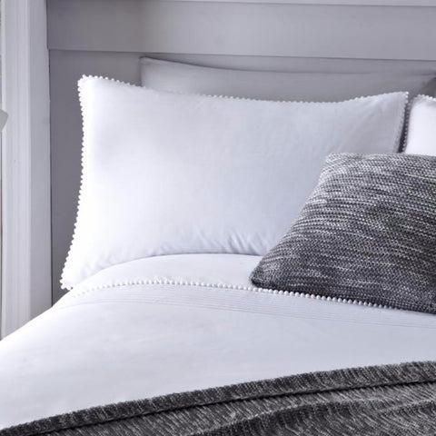 Pom Pom White Duvet Cover and Pillowcase Set