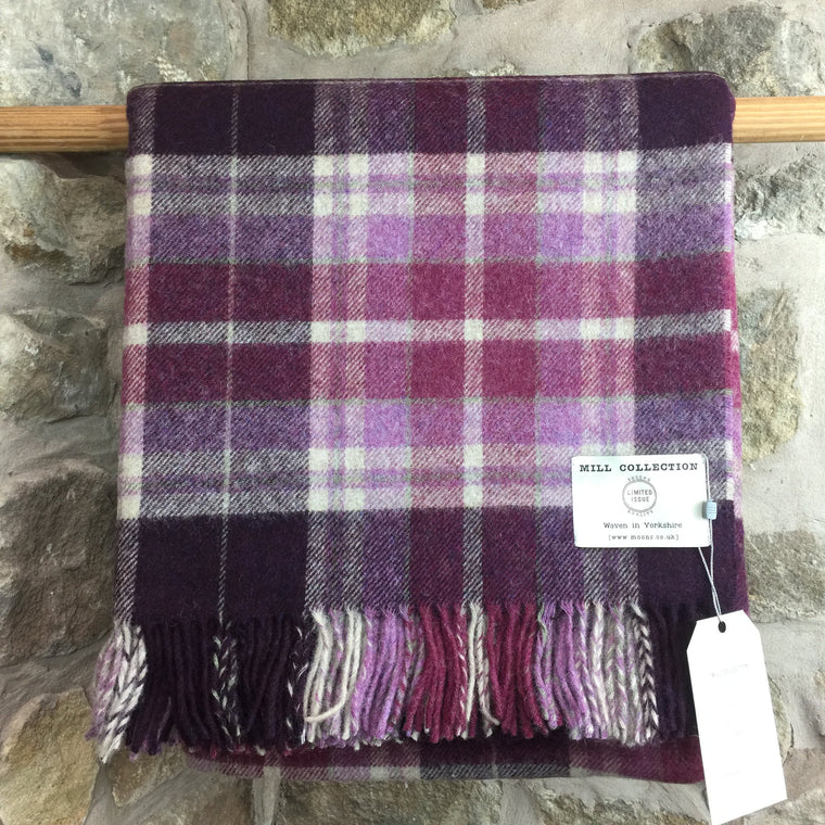 Purple Check Pure New Wool Throw