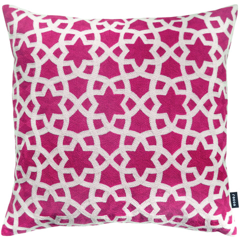Rocco Morocco Embroidered Fushia 43 x 43cm Cushion Covers - Pair