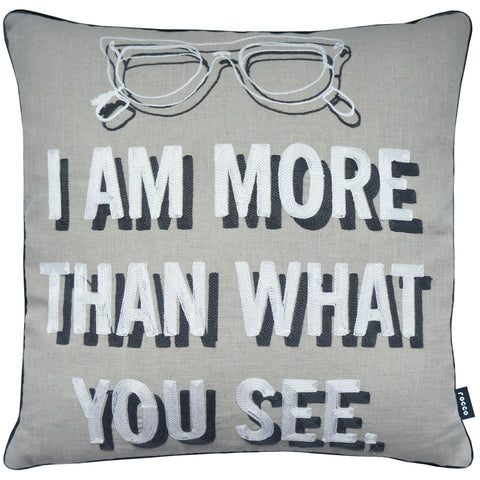 Rocco Glasses Embroidered Grey 43 x 43cm Filled Cushion