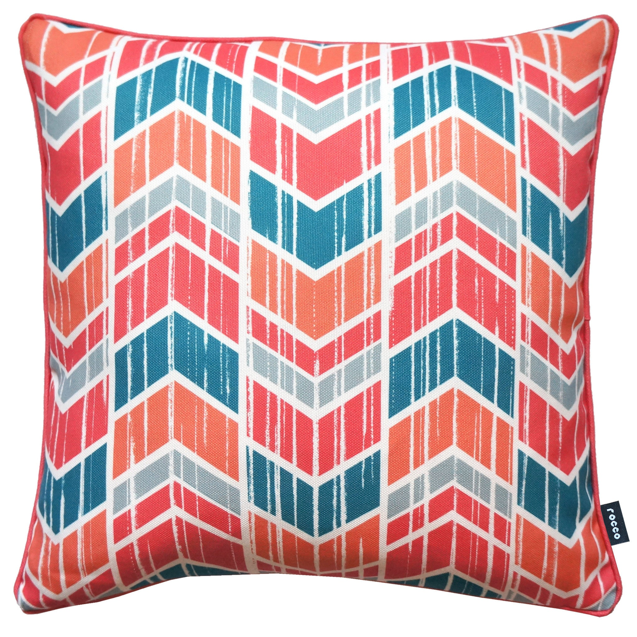 Rocco Cheveron Coral 43 x 43cm Filled Cushion - Set Of 4