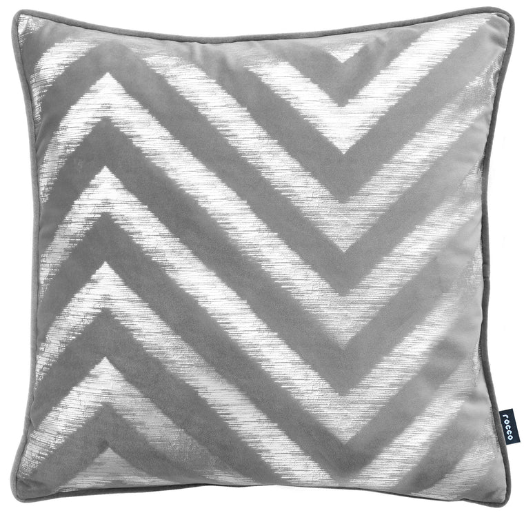 Rocco Strata Silver Grey 43 x 43cm Filled Cushion